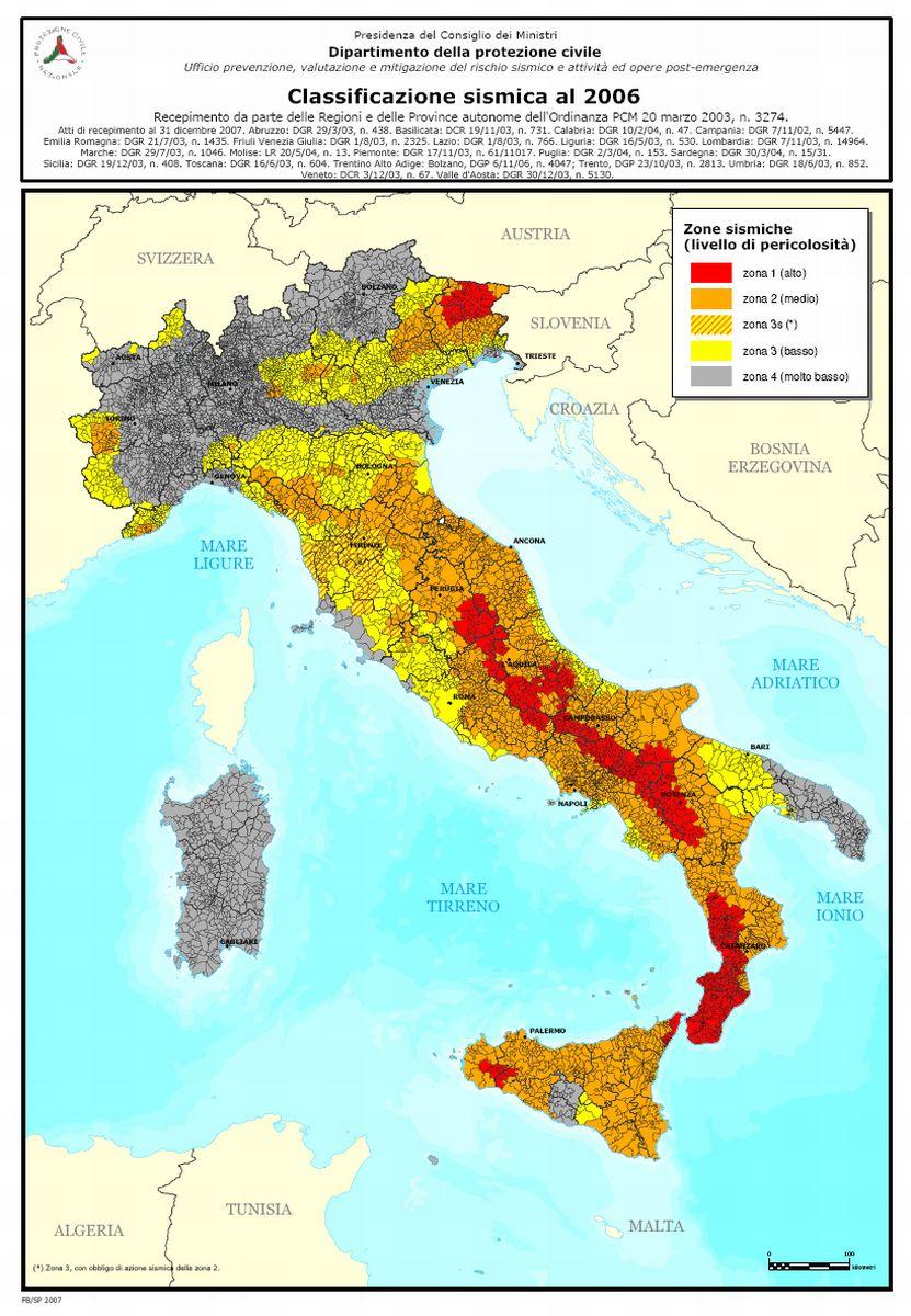 Arezzo meteo mappa del rischio sismico in italia e toscana for Rischio sismico in italia