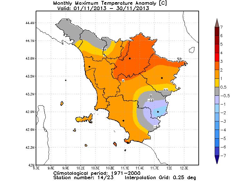 Anomalie temperature massime novembre 2013