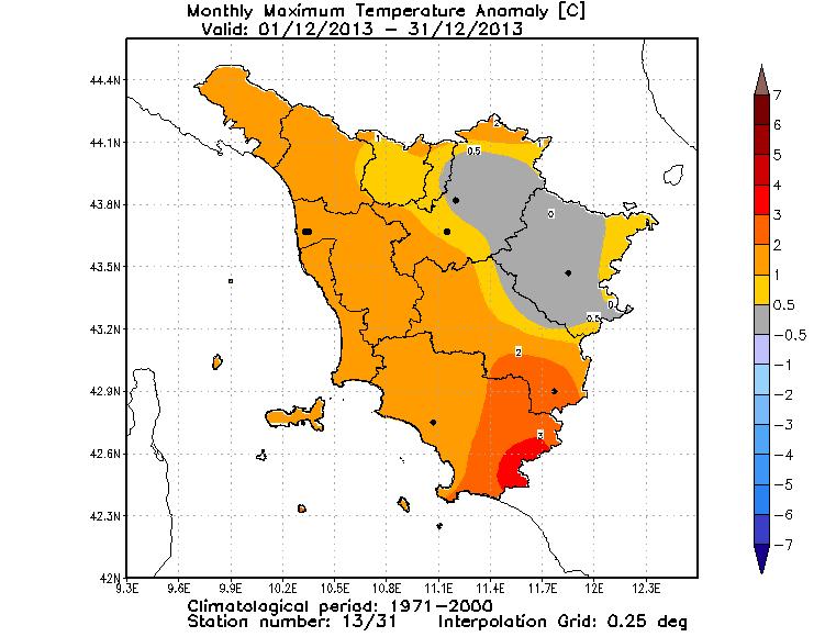 Anomalie temperature massime dicembre 2013
