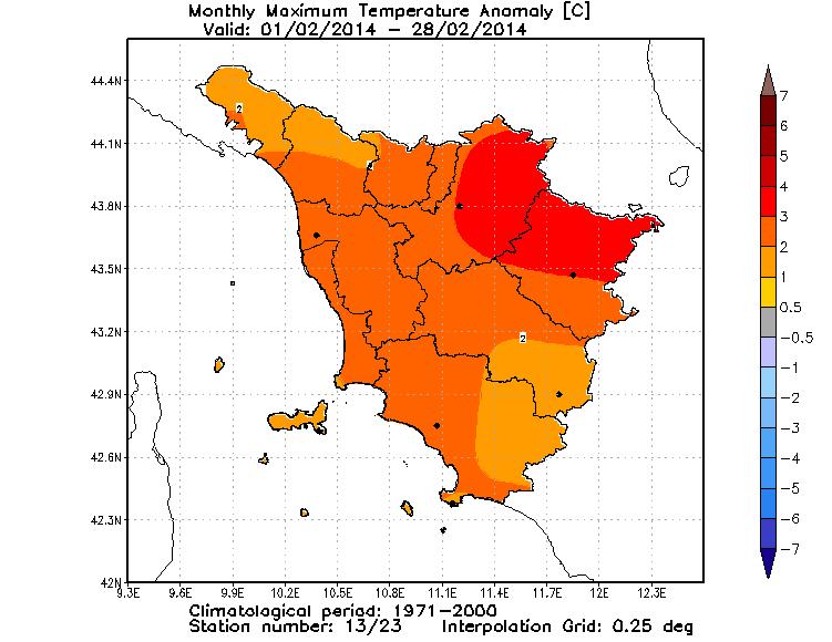 Anomalie temperature massime febbraio 2014