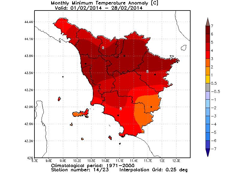 Anomalie temperature minime febbraio 2014