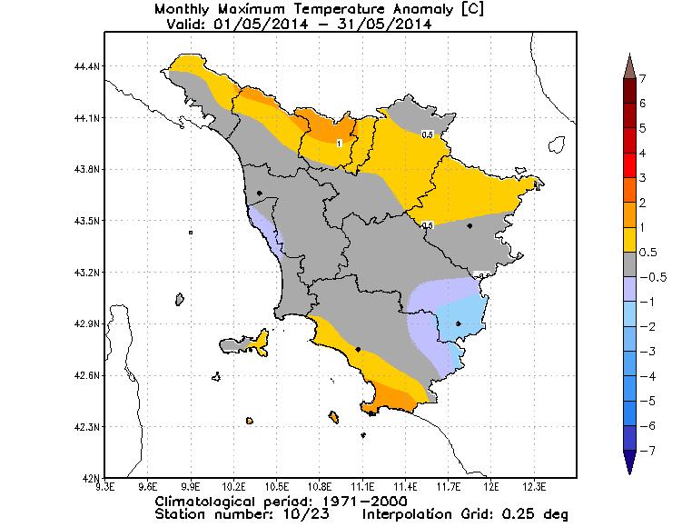 anomalie temperature massime aprile 2014