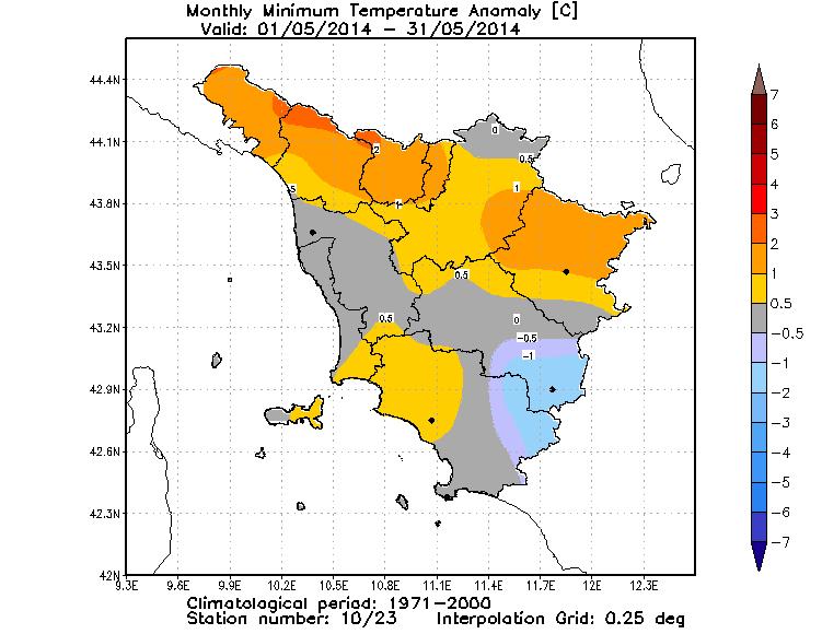 anomalie temperature minime aprile 2014
