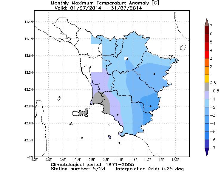 Anomalie temperature massime luglio 2014