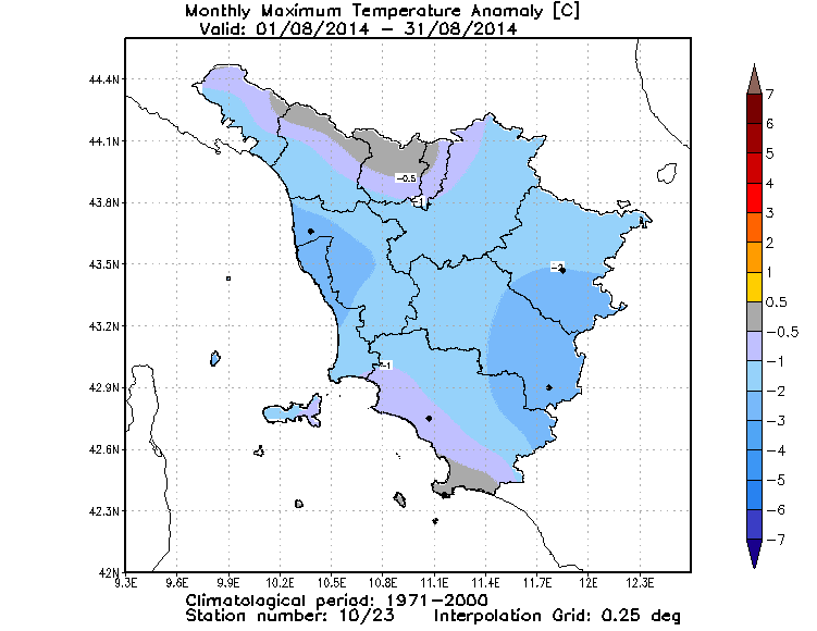 Anomalie temperature massime agosto 2014