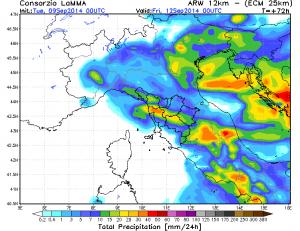 Precipitazioni ECMWF per  Giovedì 11 Settembre