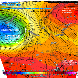 Mappa sinottica prevista per lunedì 6 ottobre. Scontro tra titani! Alta pressione ad est, ciclone ad ovest!