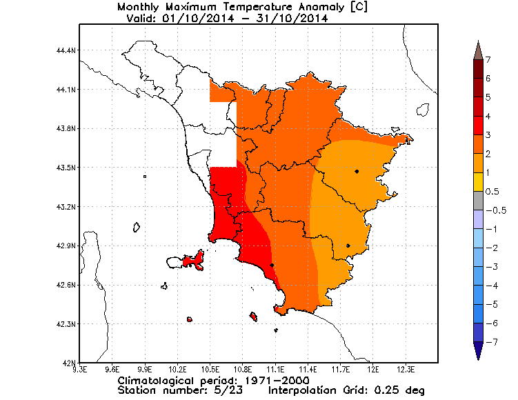 anomalie temperature massime toscana ottobre 2014