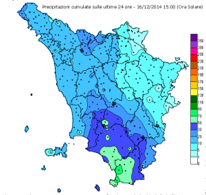 Cumulati Toscana nelle ultime 24 ore
