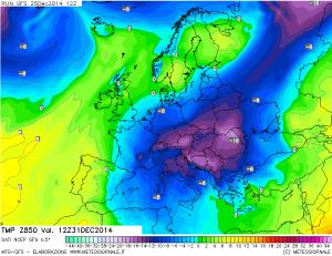 Carte gelide per l'Italia! Sarebbe prevista una -12°/-13 °C a 1500 metri d'altezza per  il 31