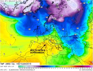 Temperature previste a 1500 metri per Sabato. Si notino i colori intorno all'arancione ( 14°-15° a 1500 metri ) vicino all'Italia
