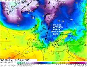 Termiche di Lunedì mattina! Si nota il calo termico in maniera evidente...