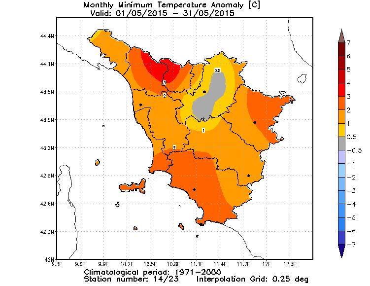 anomalie temperature minime toscana maggio 2015