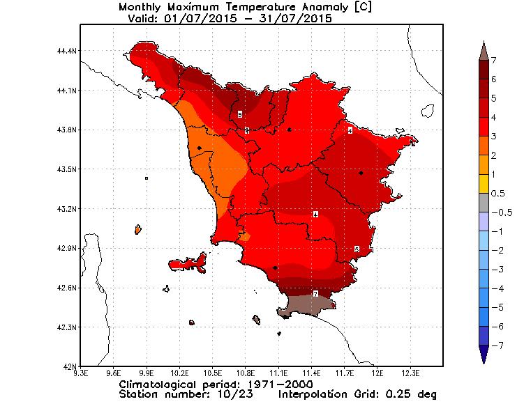 Anomalie temperature massime luglio 2015 Toscana