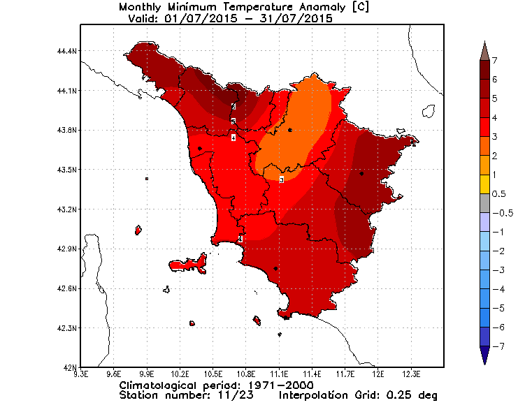 Anomalie temperature minime luglio 2015 Toscana