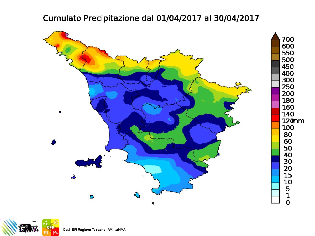 piogge Toscana aprile 2017