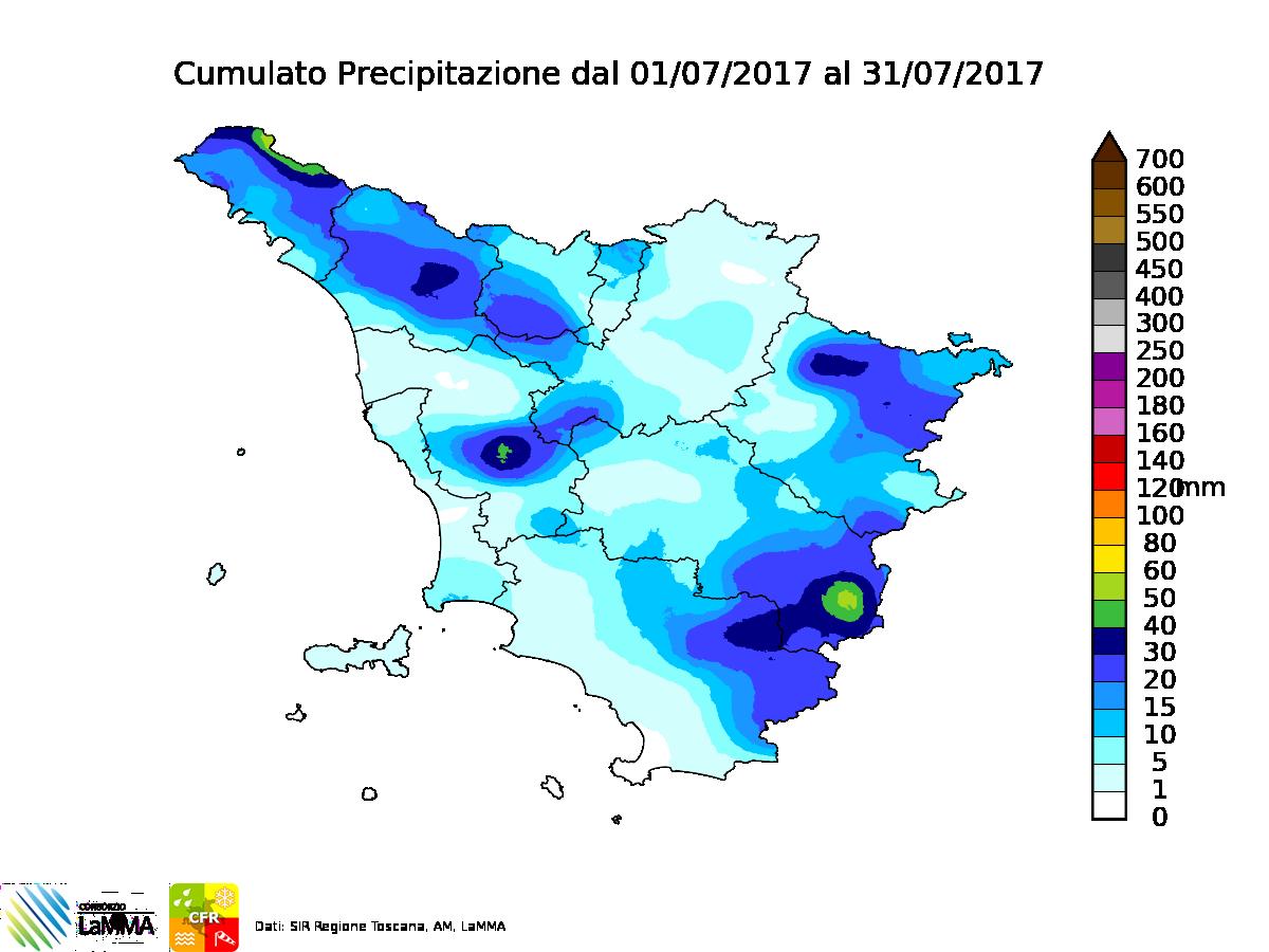 piogge Toscana luglio 2017